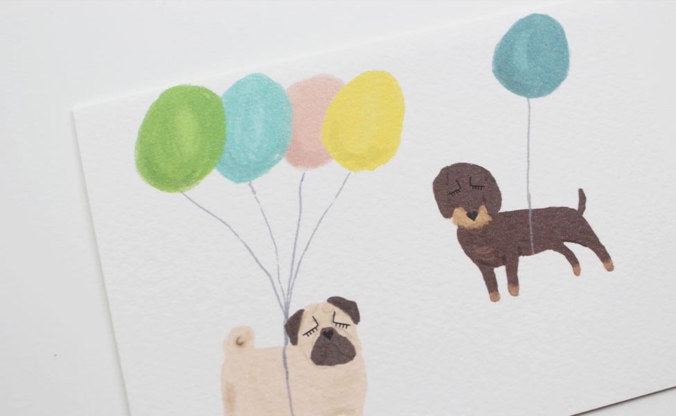 Klappkarte-mit-Hunde-Motiv-Detailbild