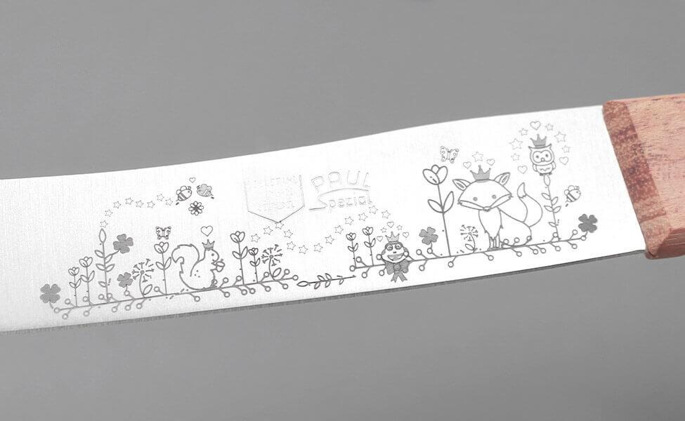 Märchengravur auf dem Küchenmesser