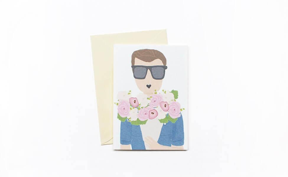 """Klappkarte """"Mann mit Blumen"""""""