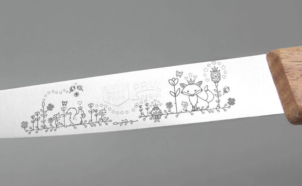 Märchengravur auf dem Fleischmesser