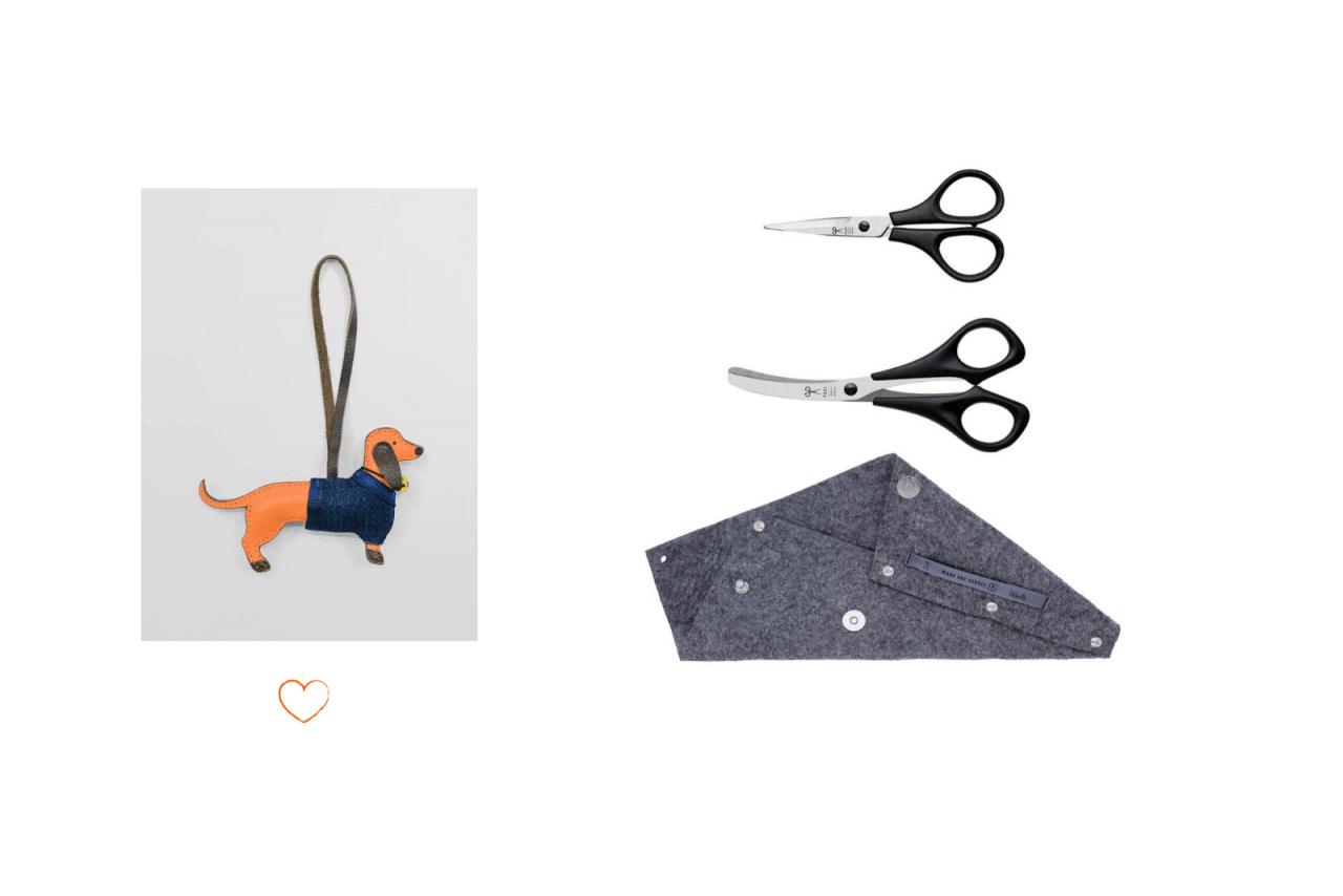 Hundescherenset Dackelanhänger Blau Filzetui Grau