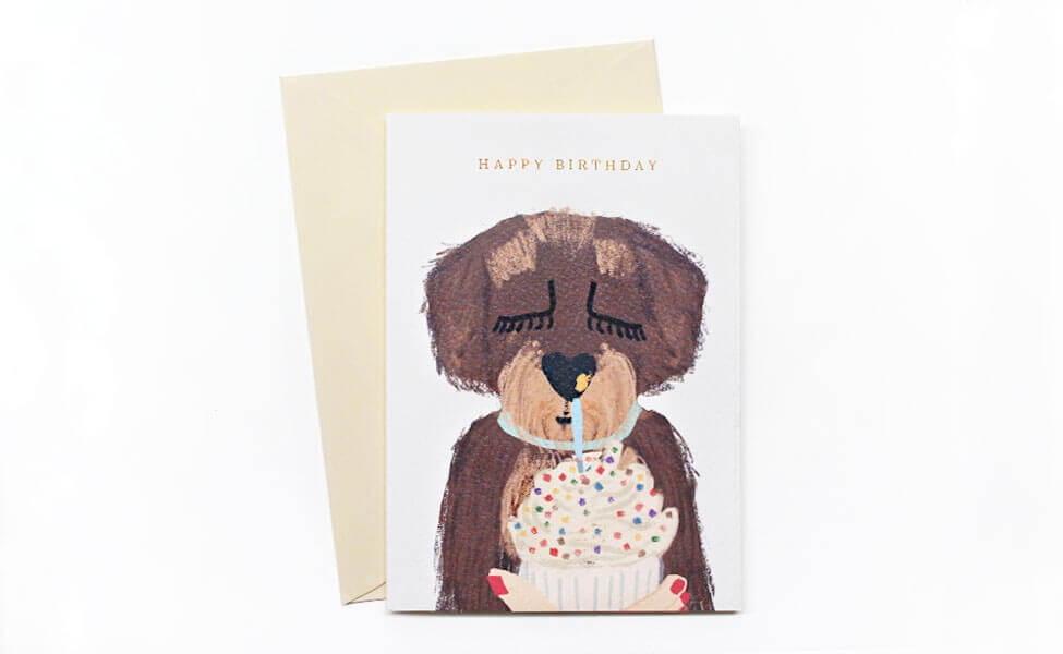 Geburtstagskarte mit Dackel Motiv